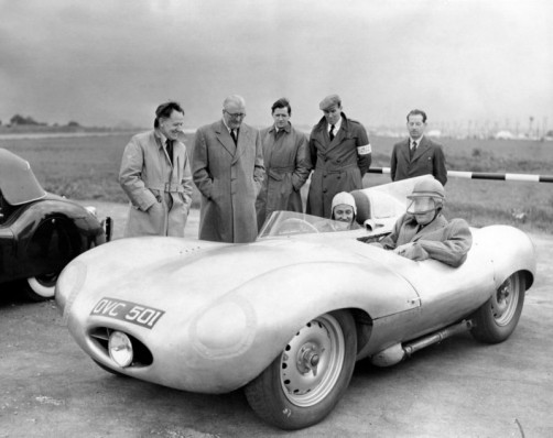 Norman Dewis, Sir William Lyons, Minister of Transport, D-Type Prototype MIRA 1954